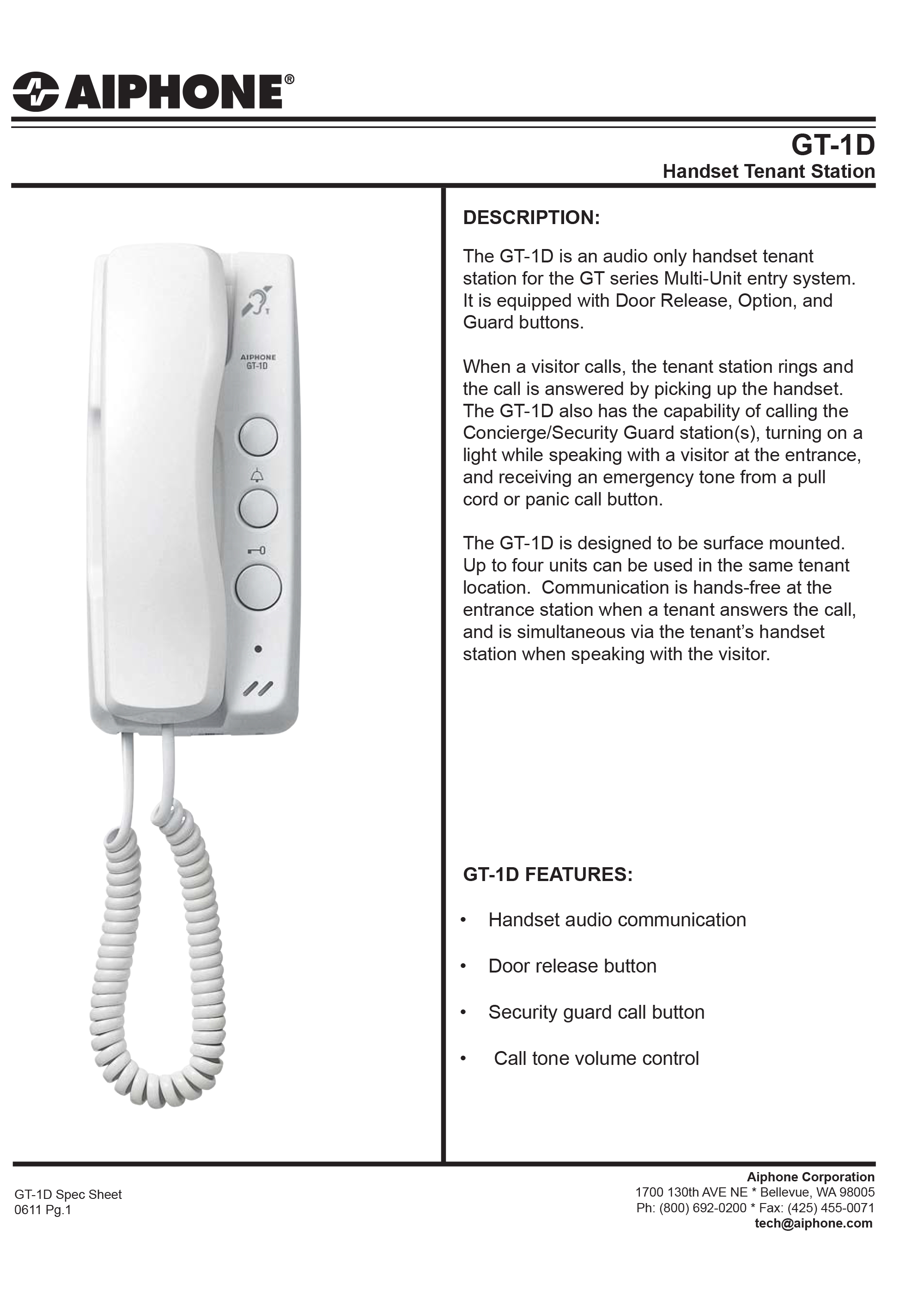 Sierra Innovations 187 Aiphone Gt 1d Hanset Tenant Station